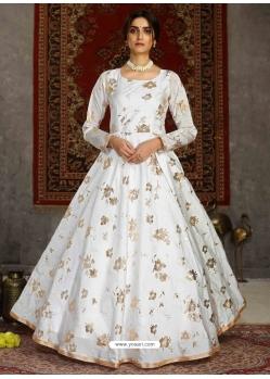 White Designer Party Wear Anarkali Long Gown