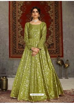 Parrot Green Designer Party Wear Anarkali Long Gown