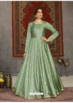 Sea Green Designer Party Wear Anarkali Long Gown