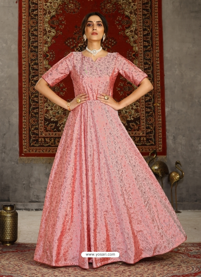Light Red Designer Party Wear Anarkali Long Gown