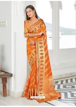 Orange Designer Classic Wear Silk Sari