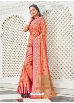 Light Orange Designer Party Wear Cotton Handloom Sari