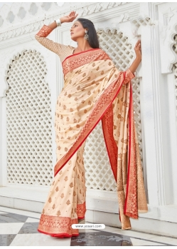 Cream Designer Party Wear Cotton Handloom Sari