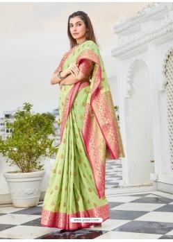 Green Designer Party Wear Cotton Handloom Sari