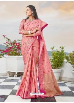 Light Red Designer Party Wear Cotton Handloom Sari