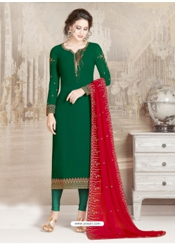Dark Green Designer Party Wear Straight Salwar Suit