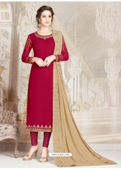 Rose Red Designer Party Wear Straight Salwar Suit