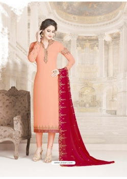 Light Orange Designer Party Wear Straight Salwar Suit