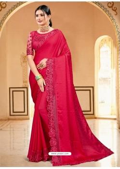Crimson Designer Party Wear Sari
