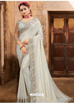 Light Grey Designer Party Wear Sari