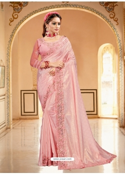 Baby Pink Designer Party Wear Sari