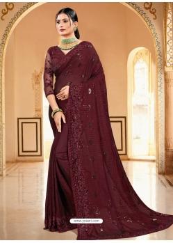 Maroon Designer Party Wear Sari
