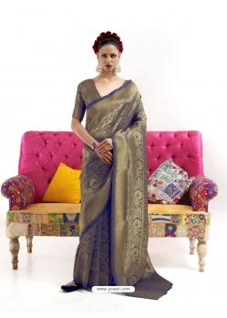 Dark Blue Latest Designer Nylon Two Tone Softy Silk Traditional Wear Sari