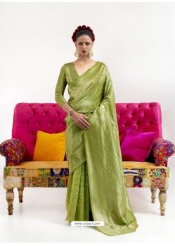 Parrot Green Latest Designer Nylon Two Tone Softy Silk Traditional Wear Sari
