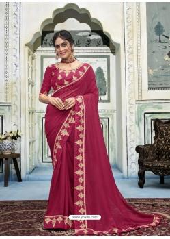 Rose Red Latest Designer Vichitra Silk Traditional Wear Sari