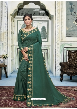 Dark Green Latest Designer Vichitra Silk Traditional Wear Sari