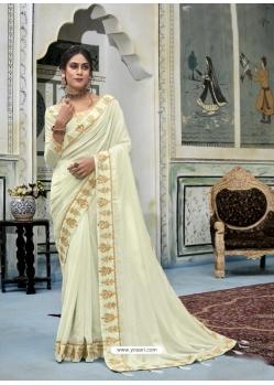 Off White Latest Designer Vichitra Silk Traditional Wear Sari