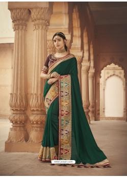 Dark Green Latest Designer Cosa Silk Traditional Wear Sari