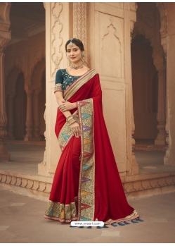 Tomato Red Latest Designer Cosa Silk Traditional Wear Sari