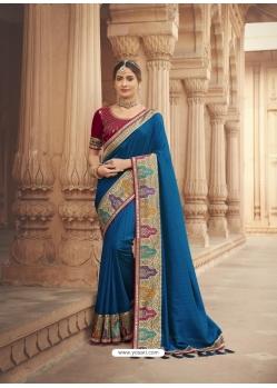 Dark Blue Latest Designer Cosa Silk Traditional Wear Sari