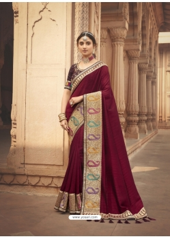 Maroon Latest Designer Cosa Silk Traditional Wear Sari