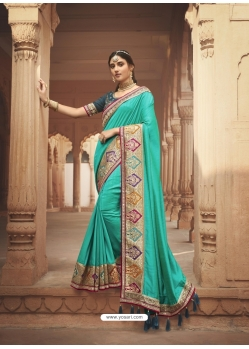 Aqua Mint Latest Designer Cosa Silk Traditional Wear Sari