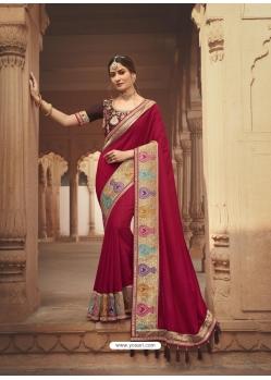 Rose Red Latest Designer Cosa Silk Traditional Wear Sari