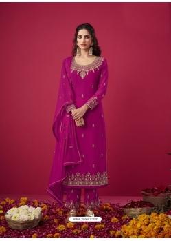 Medium Violet Designer Party Wear Straight Salwar Suit