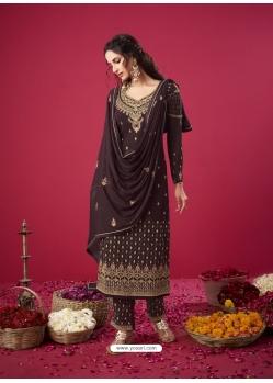 Coffee Designer Party Wear Straight Salwar Suit