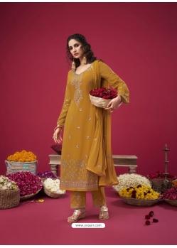 Mustard Designer Party Wear Straight Salwar Suit