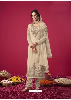 Off White Designer Party Wear Straight Salwar Suit