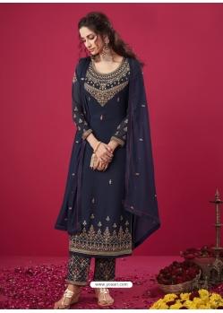 Navy Blue Designer Party Wear Straight Salwar Suit