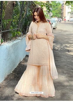 Cream Designer Party Wear Heavy Georgette Sharara Salwar Suit