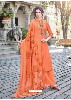 Orange Designer Cotton Silk Party Wear Palazzo Salwar Suit