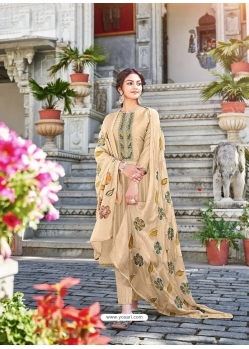 Light Beige Designer Cotton Silk Party Wear Palazzo Salwar Suit