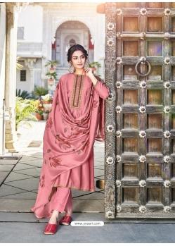 Old Rose Designer Cotton Silk Party Wear Palazzo Salwar Suit