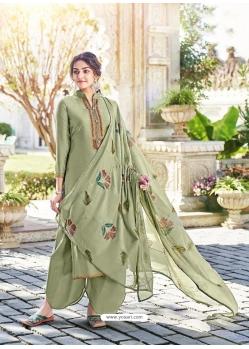 Olive Green Designer Cotton Silk Party Wear Palazzo Salwar Suit