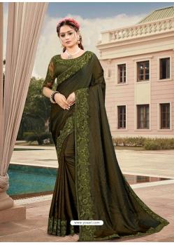 Mehendi Latest Designer Silk Satin Party Wear Sari
