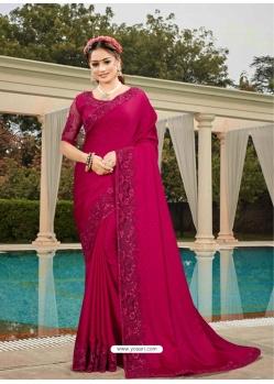 Rani Latest Designer Silk Satin Party Wear Sari