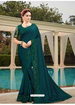 Teal Latest Designer Silk Satin Party Wear Sari