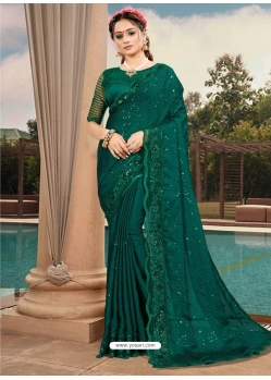 Dark Green Latest Designer Silk Satin Party Wear Sari