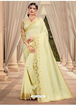 Light Yellow Latest Designer Silk Satin Party Wear Sari