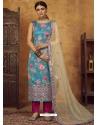 Blue Designer Party Wear Straight Salwar Suit
