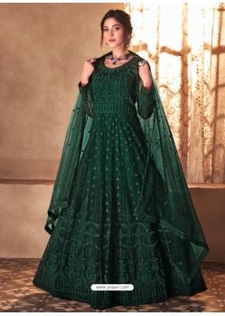 Dark Green Mesmeric Designer Party Wear Butterfly Net Gown Style Anarkali Suit