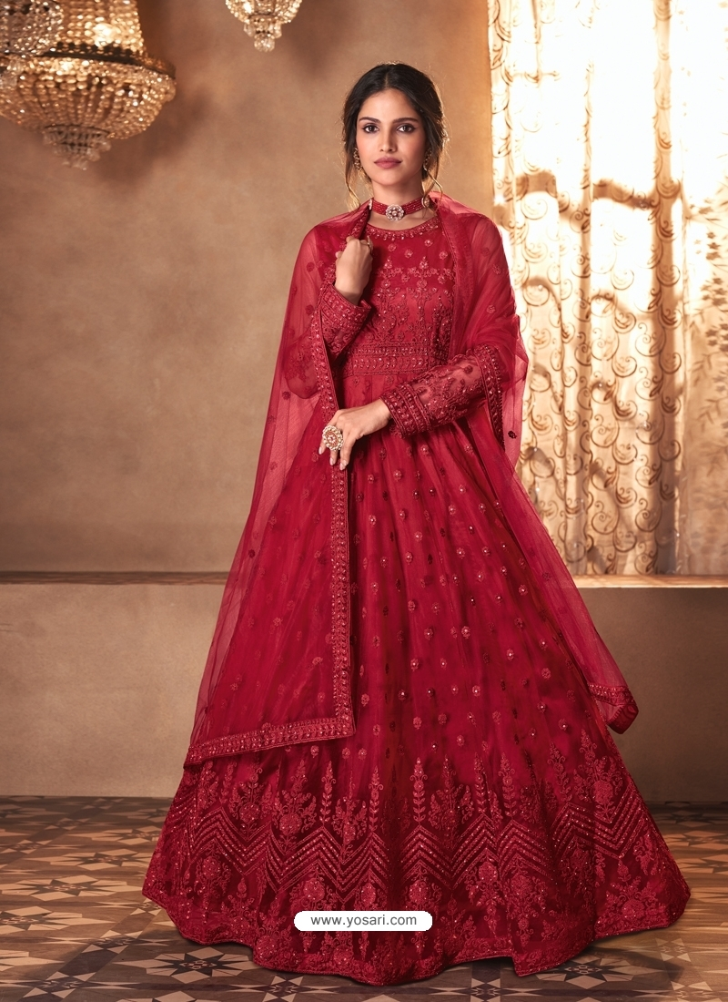 Crimson Mesmeric Designer Party Wear Butterfly Net Gown Style Anarkali Suit