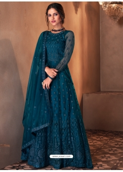 Teal Blue Mesmeric Designer Party Wear Butterfly Net Gown Style Anarkali Suit