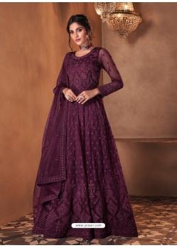 Purple Mesmeric Designer Party Wear Butterfly Net Gown Style Anarkali Suit
