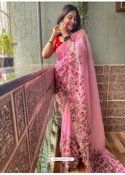 Pink Heavy Premium Georgette Sequins With Embroidery Sari