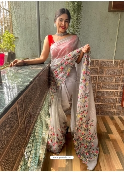 Light Grey Heavy Premium Georgette Sequins With Embroidery Sari
