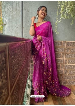 Medium Violet Heavy Premium Georgette Sequins With Embroidery Sari